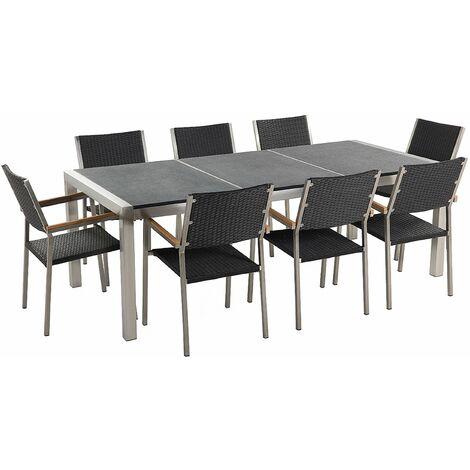 Gartenmöbel Set Schwarz Granit Edelstahl Tisch 220 cm Geflammt 8 Rattanstühle Terrasse Outdoor Modern