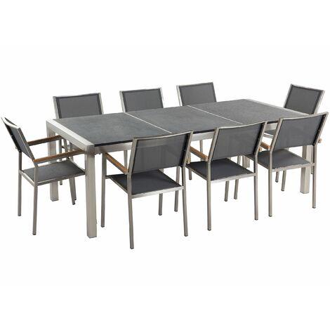 Gartenmöbel Set Schwarz Granit Edelstahl Tisch 220 cm Geflammt 8 Stühle Terrasse Outdoor Modern