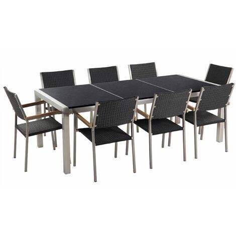 Gartenmöbel Set Schwarz Granit Edelstahl Tisch 220 cm Poliert 8 Rattanstühle Terrasse Outdoor Modern
