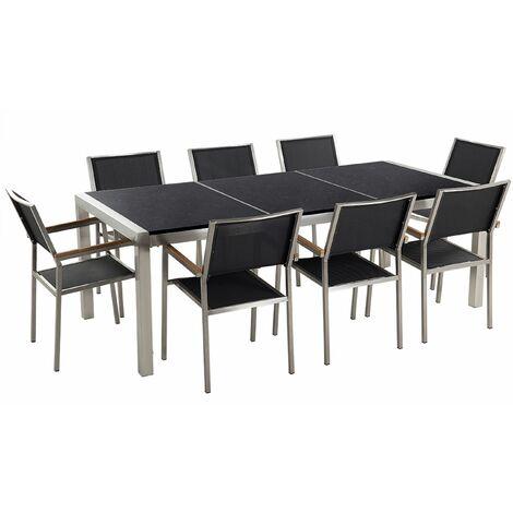 Gartenmöbel Set Schwarz Granit Edelstahl Tisch 220 cm Poliert 8 Stühle Terrasse Outdoor Modern
