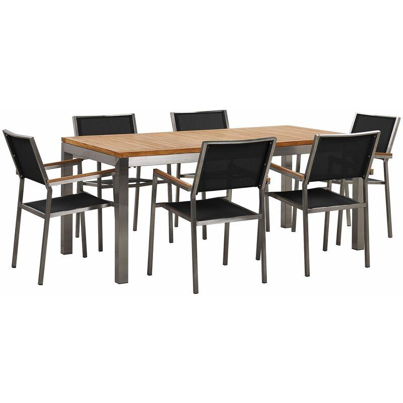Gartenmöbel Set Teakholzholz Edelstahl Tisch 180 cm 6 Stühle Schwarz Terrasse Outdoor Modern Garten Terrasse - BELIANI