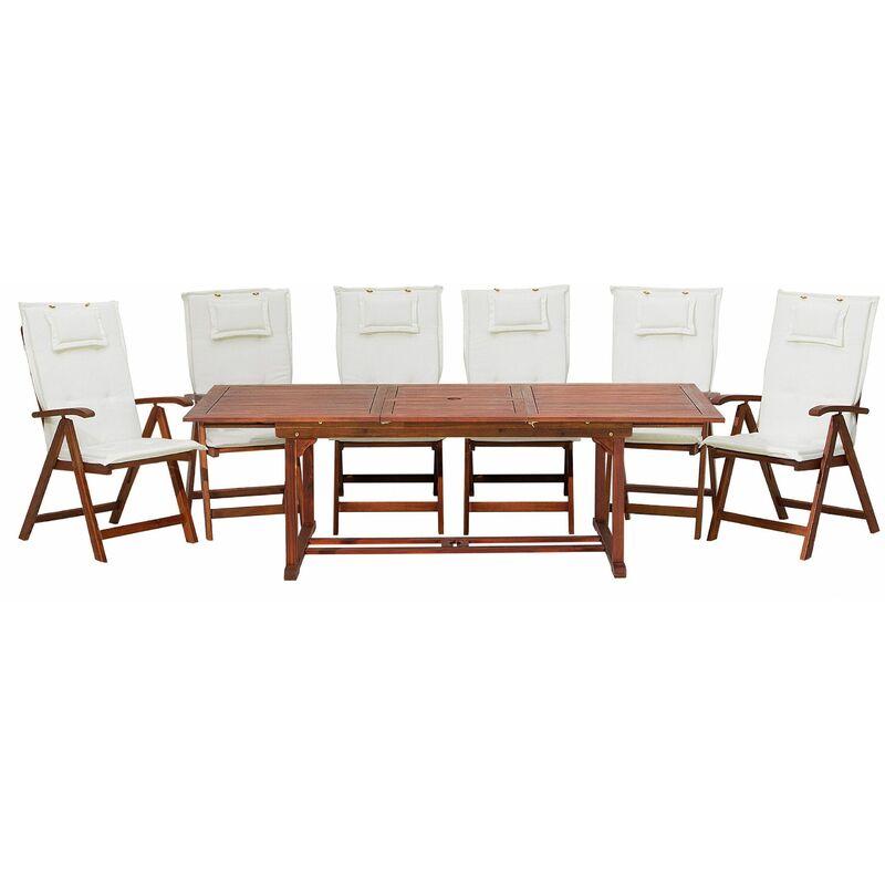 Gartenmöbel Set Dunkelbraun Akazienholz 6-Sitzer Auflagen Cremeweiß ausziehbarer rechteckiger Tisch Rustikal Landhaus Stil Outdoor - BELIANI