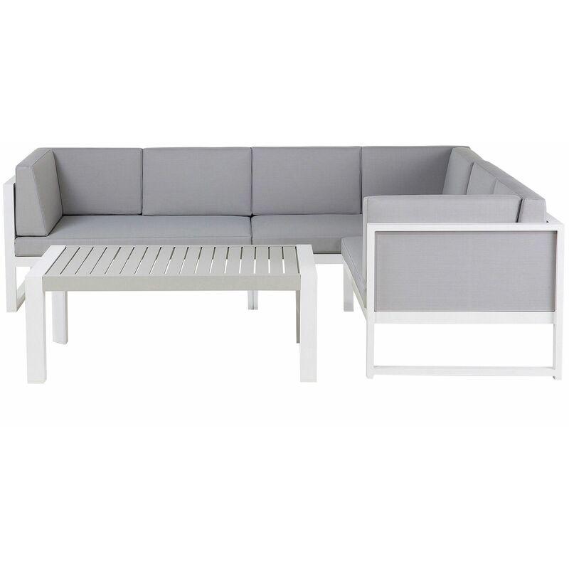 Gartenset Weiß Grau Aluminium inkl. Auflagen 6-Sitzer Terrasse Outdoor Scandi Stil - BELIANI