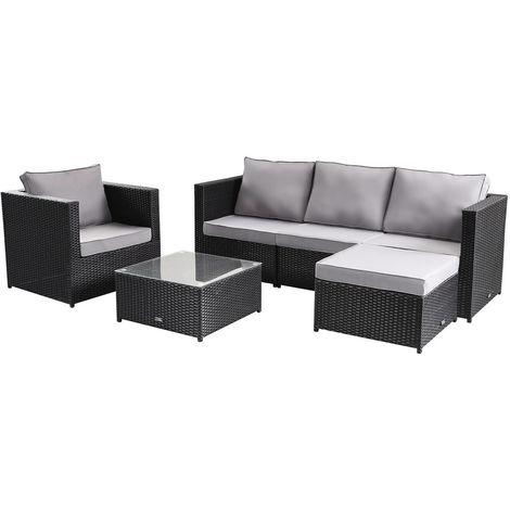 Gartenmöbel-Sets aus Polyrattan Monaco - Atlanta - Schwarz
