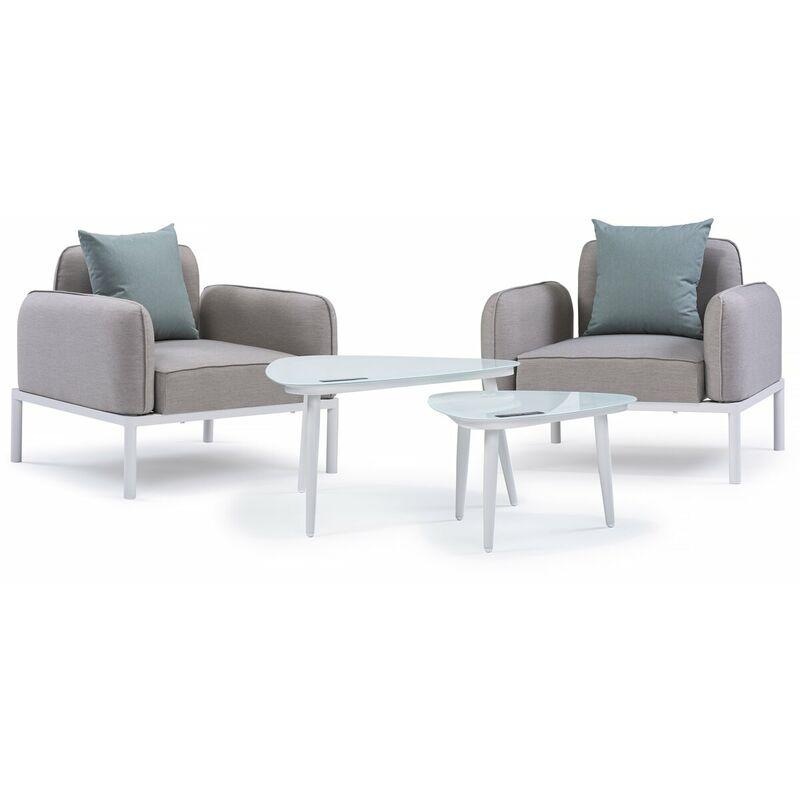 Gartenmöbelgarnitur aus Stoff Sevilla - 2 Sessel + 2 Couchtische - Grau - HABITAT ET JARDIN