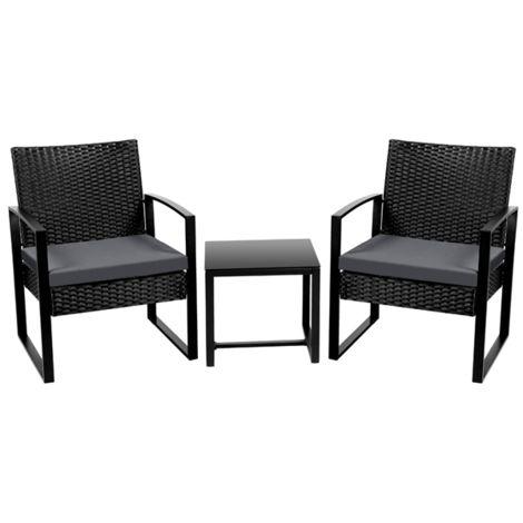 Gartenmöbelset 3-teilig Polyrattan Sitzgruppe mit Sofa, Tisch Gartengarnitur Balkon-Set Lounge-Set mit Sitzkissen für Garten, Terrasse & Balkon
