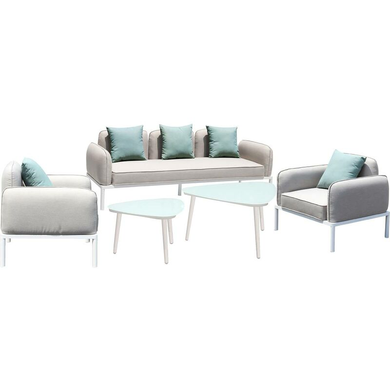 Gartenmöbelset im Stoff Sevilla - 1 dreisitziges Sofa + 1 zweisitziges Sofa + 2 Sessel + 2 Couchtische - Grau - HABITAT ET JARDIN