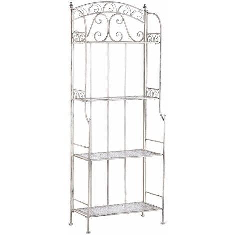 Gartenregal aus Metall mit 4 Ablageflächen in Beige dekorative Verzierungen Gartenmöbel Gartenschrank Pflanzenregal Terrasse Balkon