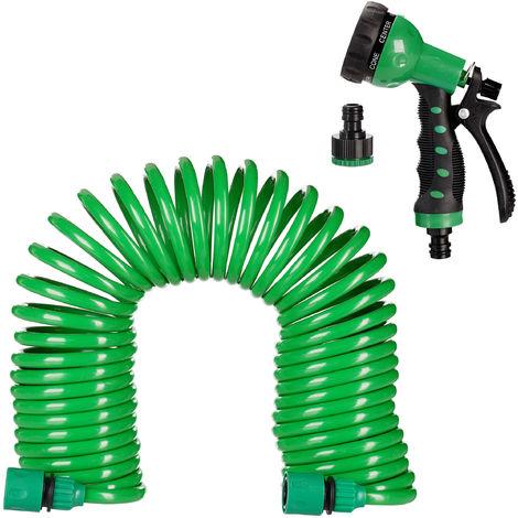 Gartenschlauch Spiral Spiralschlauch Schlauch Gartenbrause Flexibel Set 15 Meter