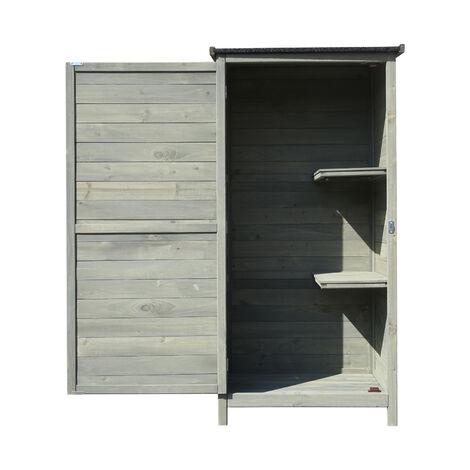 Gartenschrank aus Holz 69,5x52x142cm mit Flügeltür & Flachdach mit Bitumenisolierung