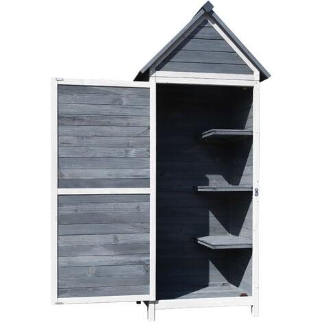Gartenschrank grau aus Holz 77x53x179cm mit Tür & Satteldach mit Bitumenisolierung