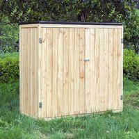 Gartenschrank Holz Naturfarbe 2 Türen 138x55x155cm Werkzeugschrank Garten