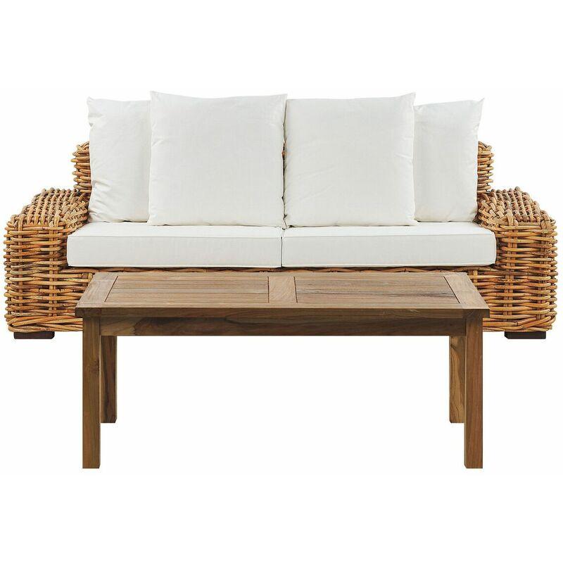 Gartensofa mit Teetisch Goldbraun Cremeweiß Rattan 3-Sitzer Garten Terasse - BELIANI