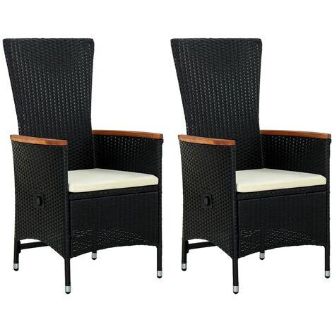 Gartenstühle 2 Stk. mit Polstern Poly Rattan Schwarz