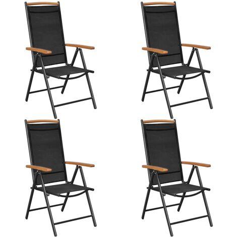 Gartenstühle Klappbar 4 Stk Aluminium Und Textilene Schwarz