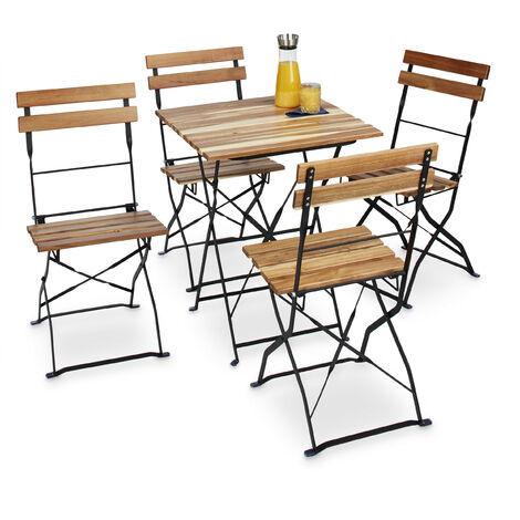 Gartenstuhl 4er Set, klappbar, Metall, Naturholz, ohne Armlehnen, H x B x T: 84 x 42 x 44 cm, naturfarben