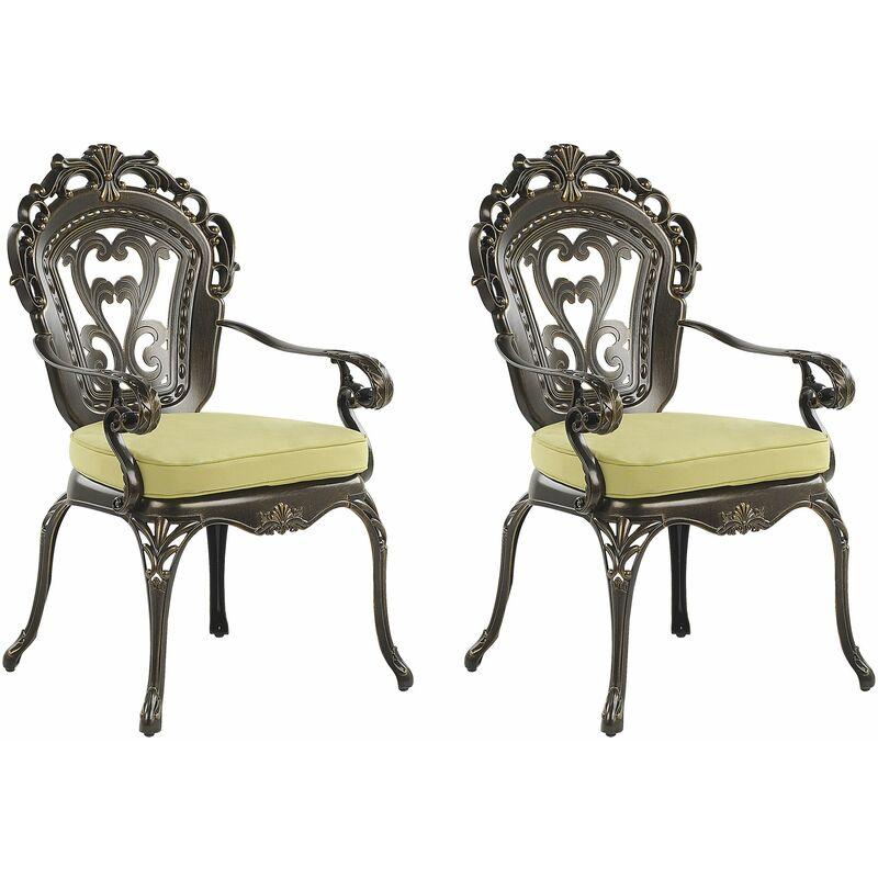 Set 2 Gartenstühle Dunkelbraun Aluminium Bistro Gartenmöbel Stühle 2er Set 2 Sitzkissen - BELIANI