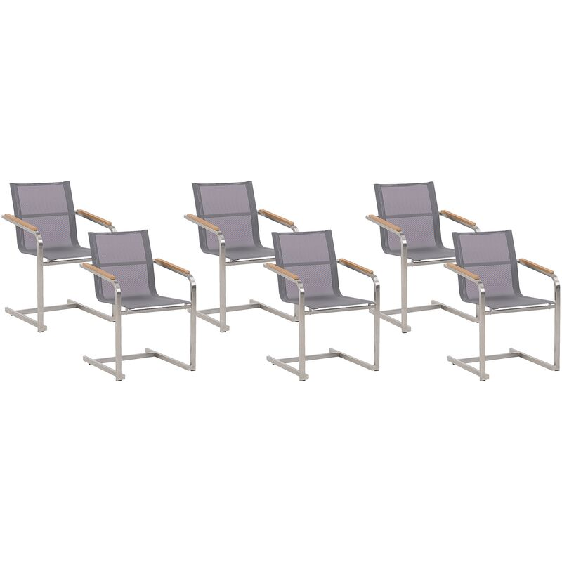 Beliani - Gartenstuhl Grau Edelstahl 6er Set mit Textilbespannung Moderner Look Gartenausstattung Terrasse Balkon Gartenmöbel