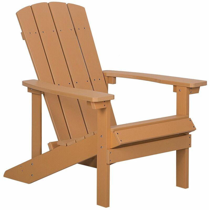 Gartenstuhl heller Holzfarbton Kunstholz ADIRONDACK