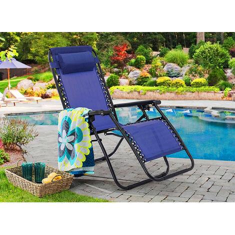 Gartenstuhl klappbar mit Kopfpolster Liegestuhl, Klappstuhl,Lounge Gartensessel