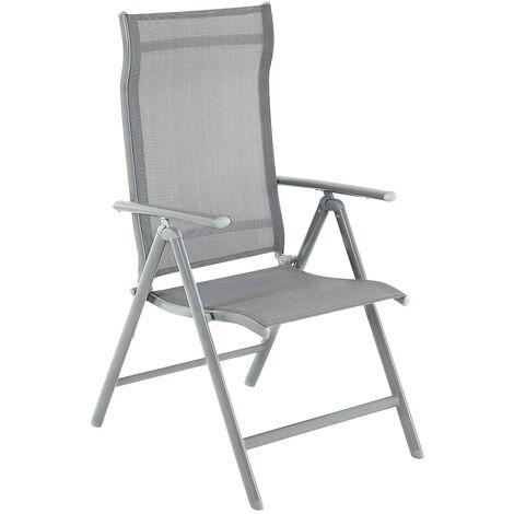 """main image of """"Gartenstühle, 1/2er/4er Set, Klappstühle, Outdoor-Stühle mit robustem Aluminiumgestell, Rückenlehne 8-stufig verstellbar, bis 150 kg belastbar, schwarz/grau"""""""