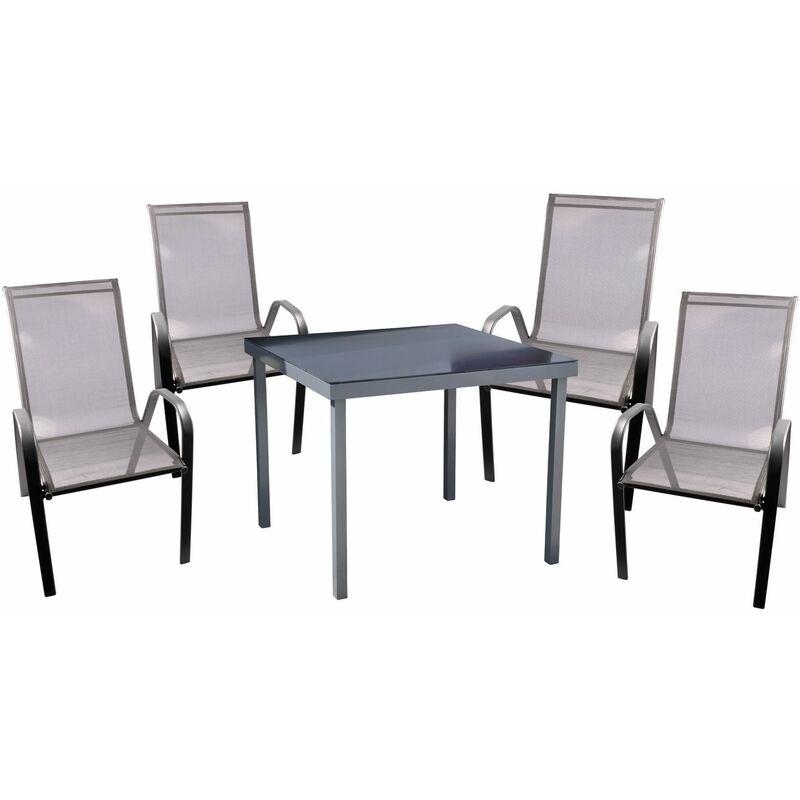 Gartentisch + 4 Stapelstühle Sitzgarnitur Essgruppe Gartengarnitur Gartenset - UNBEKANNT
