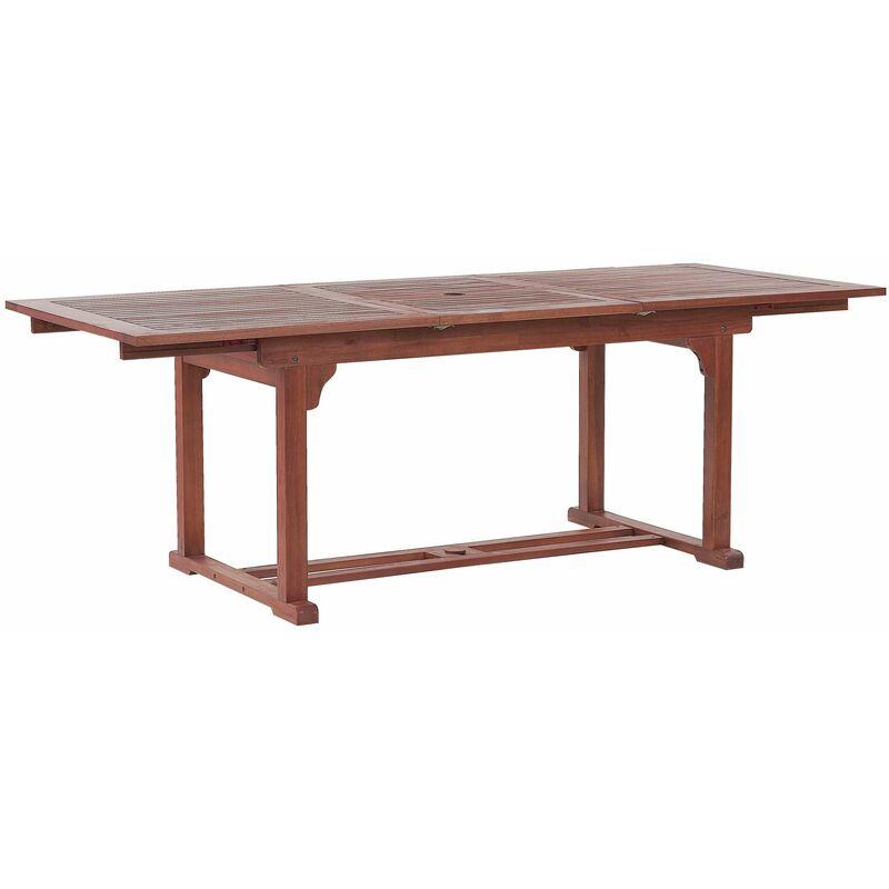 Praktischer, rechteckiger Gartentisch aus Holz ausziehbar 160/220 x 90 cm Gartenmöbel, Holzmöbel, Garten - BELIANI