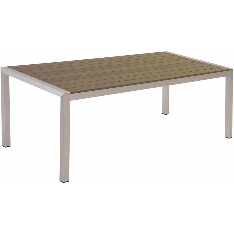 Beliani - Gartentisch Braun Aluminium für 6 Personen 180 x 90 cm Modern Design