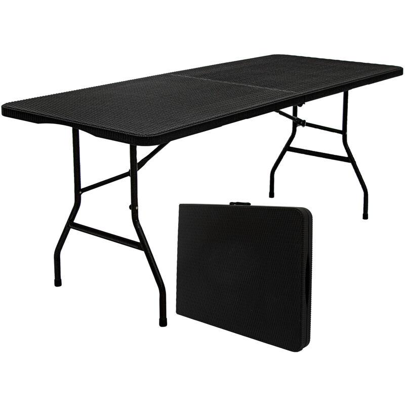 Gartentisch für 6 Personen - 180 x 74cm Klapptisch Rattan-Look Esstisch Klappbar - AMANKA