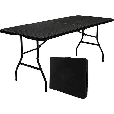 Gartentisch für 6 Personen - 180 x 74cm Klapptisch Rattan-Look Esstisch Klappbar
