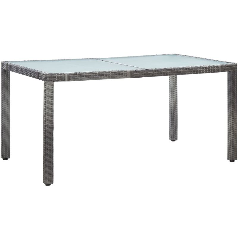 Gartentisch Grau 150 x 90 x 75 cm Poly Rattan - VIDAXL