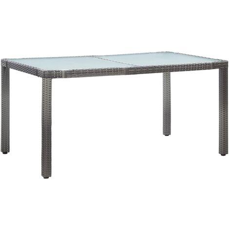 Gartentisch Grau 150 x 90 x 75 cm Poly Rattan