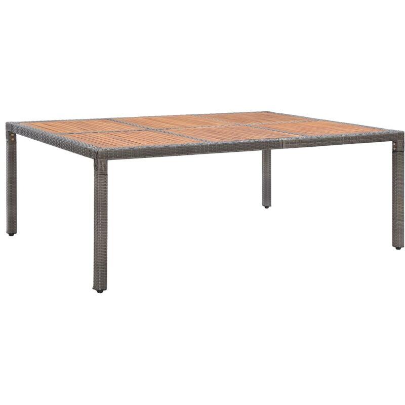 Gartentisch Grau 200x150x74cm Poly Rattan und Akazie Massivholz