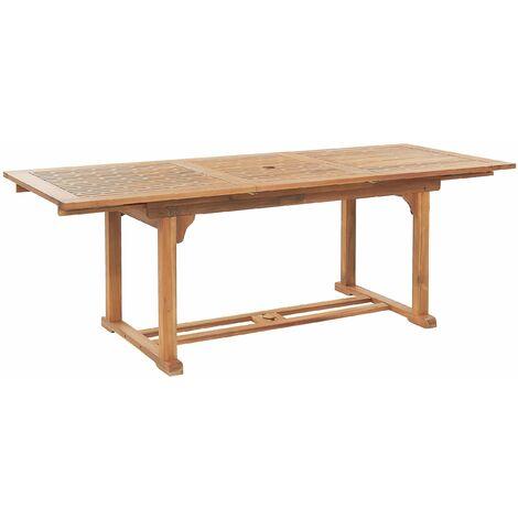 Gartentisch Holz Braun/Heller Holzfarbton 160/220 x 90 cm aus Akazienholz Ausziehbar/Butterfly Auszug Rechteckig Modernes Design