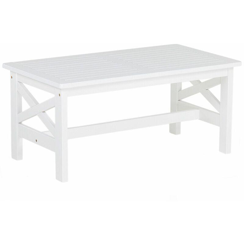 Gartentisch weiß Akazienholz 100x55 cm Landhaus Stil
