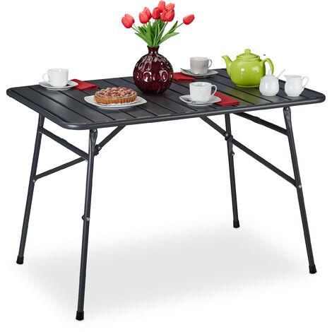 Gartentisch klappbar, Terrassentisch Metall, HBT 74,5 x 110 x 70,5 cm, eckig, Klapptisch wetterfest, anthrazit