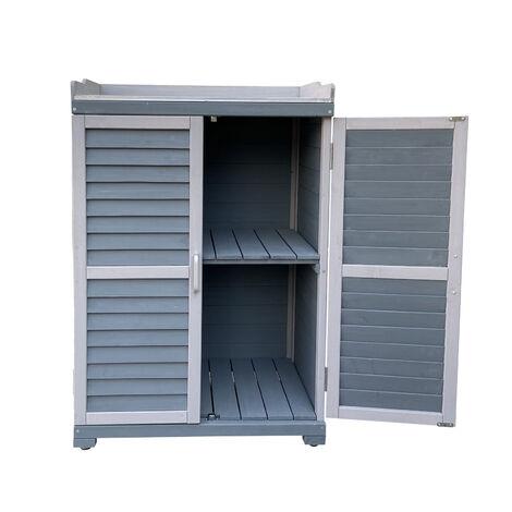 Gartentisch mit Unterschrank und Arbeitsplatte, Pflanztisch mit Schutzleisten, grau 67x46,5x99,7cm