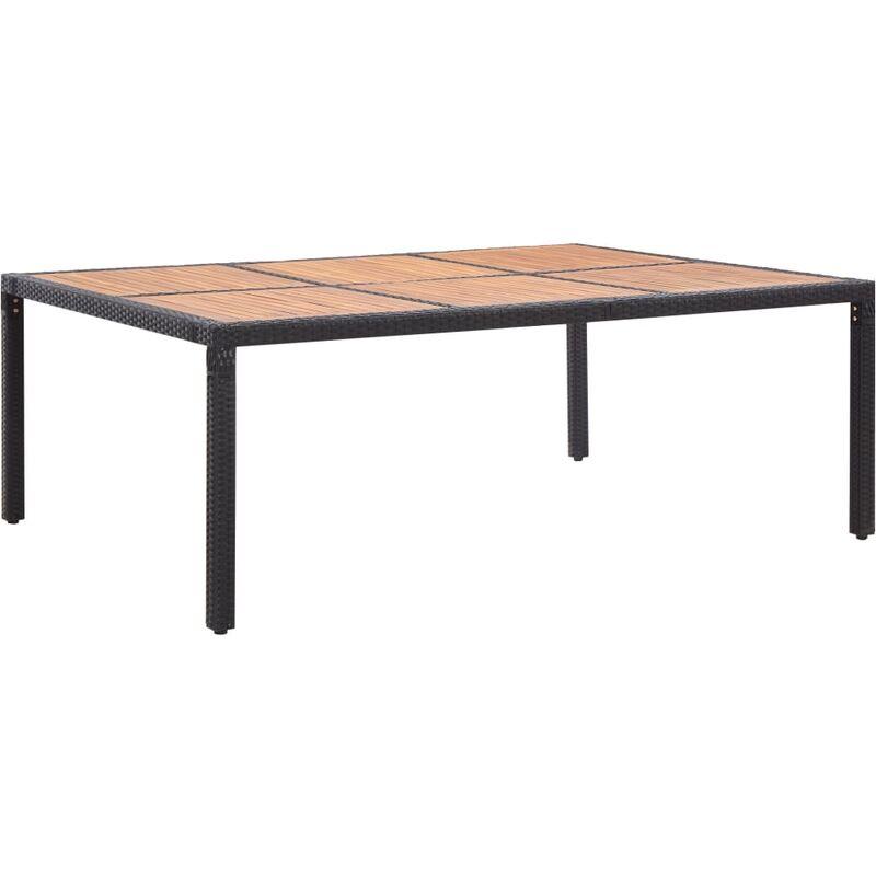 Gartentisch Schwarz 200x150x74cm Poly Rattan Akazie Massivholz