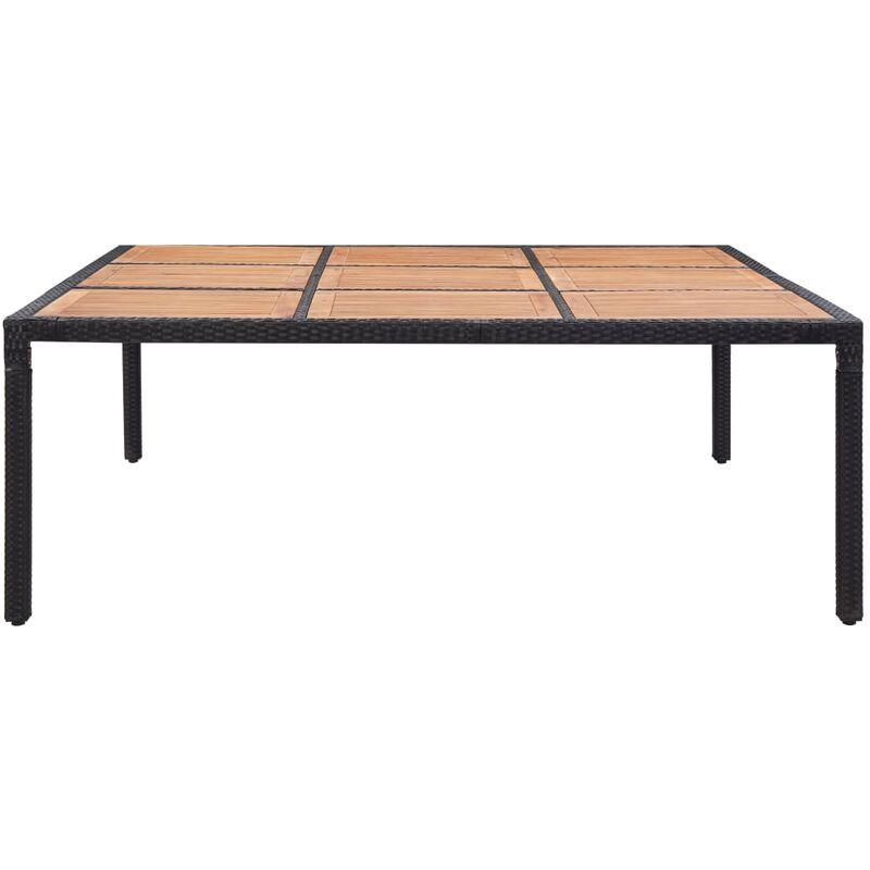 Gartentisch Schwarz 200x200x74 cm Poly Rattan Akazie Massivholz - VIDAXL