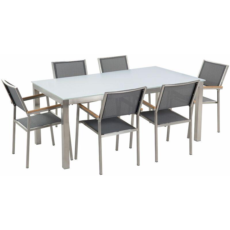 Gartenmöbel Set Weiß Grau Sicherheitsglas Edelstahl Tisch 180 cm 6 Stühle Terrasse Outdoor Modern - BELIANI