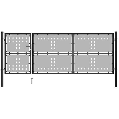 Gartentor Stahl 350 x 125 cm Schwarz