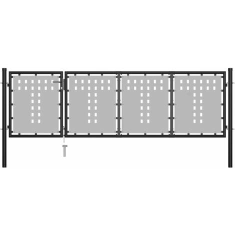 Gartentor Stahl 350 x 75 cm Schwarz