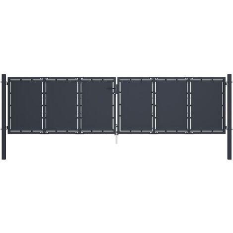 Gartentor Stahl 400 x 100 cm Anthrazit