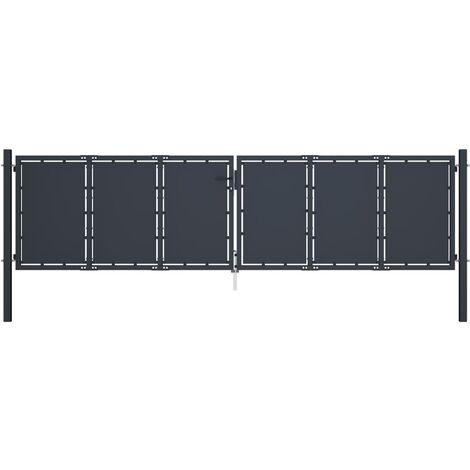 Gartentor Stahl 400 x 125 cm Anthrazit