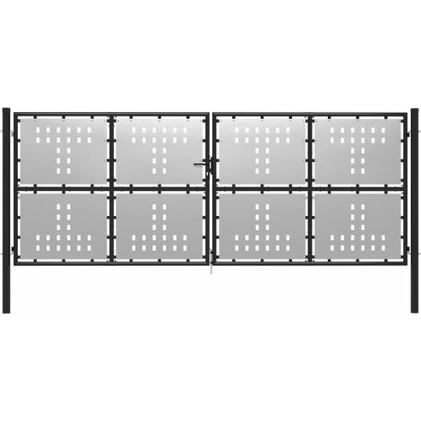 Gartentor Stahl 400 x 150 cm Silbern