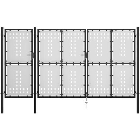 Gartentor Stahl 400 x 175 cm Schwarz
