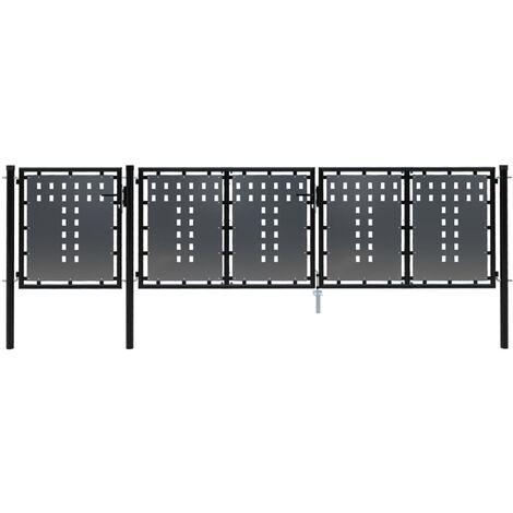 Gartentor Stahl 400×100 cm Schwarz