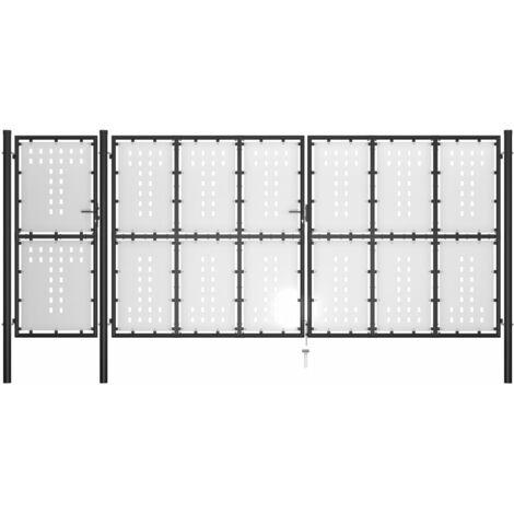 Gartentor Stahl 500 x 175 cm Schwarz