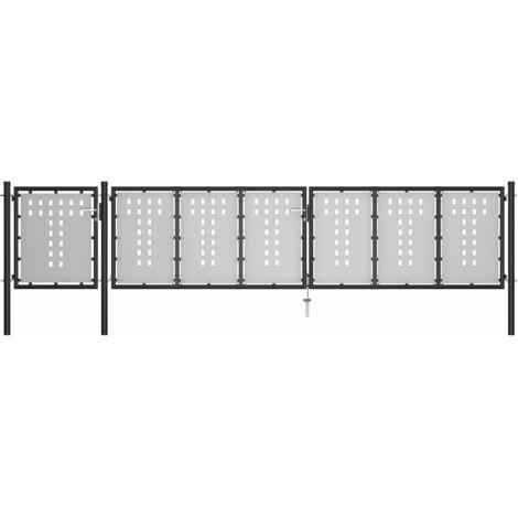 Gartentor Stahl 500×75 cm Schwarz