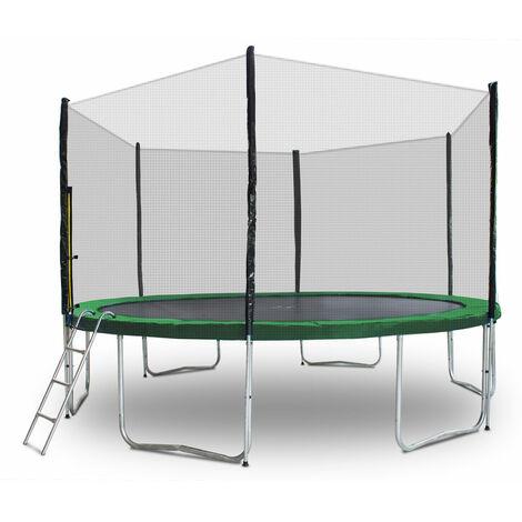 Gartentrampolin Trampolin 400cm Modell 2019 Randabdeckung Dunkelgrün